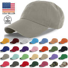 New 100% Cotton Cap Hat Adjustable Polo Style Washed Baseball Plain Solid Visor
