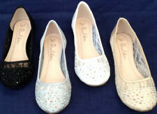NEW Womens Junior WEDDING BRIDAL LACE Satin Trim Rhinestone Flat Ballet Shoes