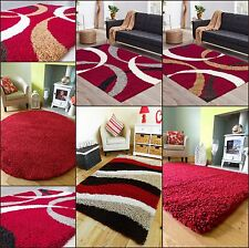 MEDIUM XX LARGE THICK SOFT LUXURIOUS MODERN RED SHAGGY PILE AREA HALL RUG MAT
