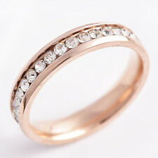 Rose Gold Filled Aroudn Clear CZ Womens Band Ring SZ 7,8,9 #A1113-A1115
