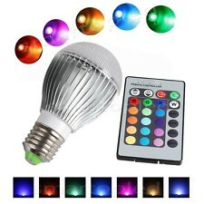 16 Color Changing RGB LED Light Party Bulb Home Lamp E27 5W 10W+24 Key IR Remote