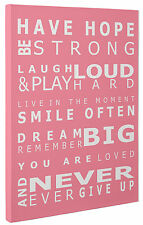 Have Hope Pink Typography Canvas Print Wall Art Quote a1 a2