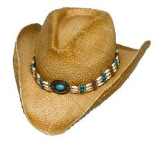 Western Raffia Straw Cowboy Hat  w/ Turquoise & Beige Beaded Hatband - ALL SIZES