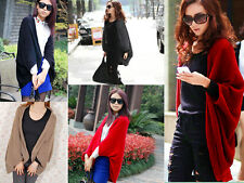 Ladies Warm Loose Sleeve Bat Wing Sweater Cardigan Shawl Cape One Size its 10-18
