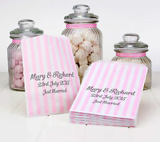 Personalised Light Pink Stripe Paper Sweet Bags Wedding Favour Buffet Candy