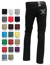 MEN'S VICTORIOUS VARIOUS COLOR TWILL DENIM SKINNY JEANS PANTS WITH 5 POCKETED