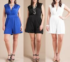 PLUS WOMEN SLEEVELESS V-NECK HIGH WAIST SHORTS MINI JUMPSUIT SUMMER DRESS ROMPER