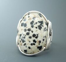 Large Sterling Silver Dalmatian Jasper Cabochon Wire Wrapped Ring