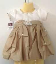 NEW Baby Girl Ivory and Pale Gold Party/Formal Dress Sizes 9 Months- 24 Months