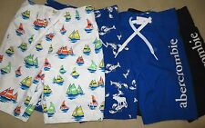 NWT Abercrombie & Fitch Boys Swim Trunks Board Shorts White,Navy, Blue S,M or L