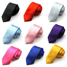Mens Casual Slim Plain Solid Silk Skinny Neck Party wedding Tie Necktie HOT
