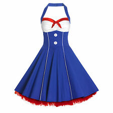50s Lady Nautical Sailor Vintage Style Swing Circle Rockabilly Pinup Dress NO8