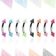 316L Surgical Steel Eyebrow Ring Curve UV Candy Stripe Spikes 16 GA 5/16
