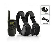 Rechargeable Waterproof LCD Shock &Vibrate Remote Dog Training Collar for 2 Dogs