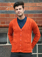 MENS INDIE 70's 80's RETRO MOD NEW VINTAGE STYLE RUST CABLE CARDIGAN XS S M L XL