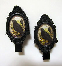 Oddities GOTH Medieval STEAMPUNK Victorian CAMEO BLACK Barrette Hair Clips NEW