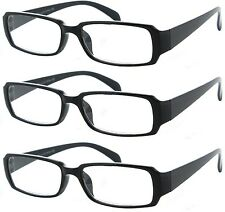 3 Pack Clear Reading Glasses - 3 Pair Black OR 3 Pair Tortoise 1.25 - 3.50