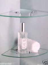 NEW SMALL CLEAR GLASS CORNER WALL MOUNT BATH BED OFFICE ROOM SHELF CHROME FIT