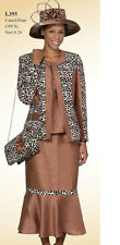 Lady's New 3 Piece Dress Leopard Print W/Jacket/Blouse/Long Skirt Camel Lyndas's