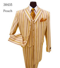 Men's 3 Piece High Fashion Zoot Suit with Vest Peach/Stripe Solid Pants Milano