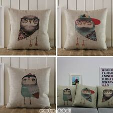 Cute Adorable Owl Drawing Painting Retro Linen Throw Cushion Cover Pillow Case