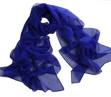 Solid Colors 100% Polyester Silk Chiffon Neck Scarf Wrap - Various Colors