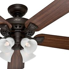 """Hunter 52"""" New Bronze Finish Ceiling Fan - Large Room - Optional Remote Control"""