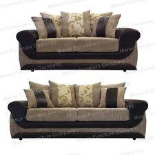 BRAND NEW KIRK  3+2 SEATER SOFAS - MINK AND BROWN FAUX LEATHER