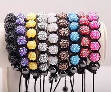 1pc Disco Resin crystal Ball Hematite Beads(2p) Braid Chain Adjustable Bracelet