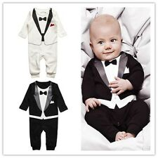 Christening Formal Tuxedo Bow Tie Suit One Piece Romper Outfit  for baby boy0-3Y