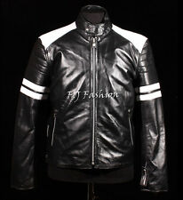 Fight Club Mayhem Black Men Biker Style Fashion Movie Real Sheep Leather Jacket