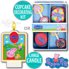 PEPPA PIG BIRTHDAY PARTY SUPPLIES CUPCAKE DECORATING KIT OR BIRTHDAY CAKE CANDLE