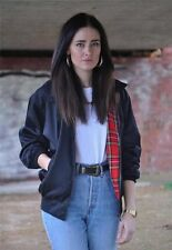 Vintage NEW Black Retro tartan Lined Harrington mod punk bomber jacket coat
