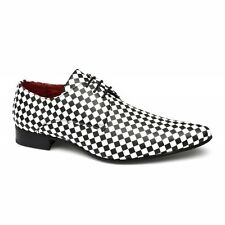Rossellini ALBERTO Mens Leather Lined Checkerboard Pointed Shoes Black/White New