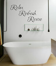 RELAX REFRESH REVIVE - BATHROOM WALL STICKER - VINYL DECAL TRANSFER