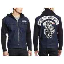 Sons Of Anarchy Denim Jacket With Hood SOA Highway Reaper Costume Lined Hoodie
