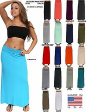 WOMEN'S ELEGANT RAYON MAXI SKIRT LONG LENGTH BANDED WAIST CASUAL DRESS 19 COLORS