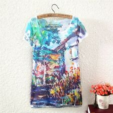 New Womens Short Sleeve Vintage Village Graphic Printed T Shirt Blouse Tee Tops