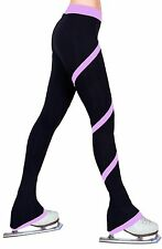 Ice Figure Skating Polar Fleece Spiral Trousers Leggings Pants - Lavender Pink