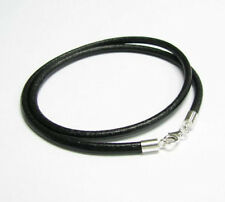 "STR Silver Black Genuine Leather Cord 3mm Choker Necklace 16"" 18"" 20"" w/ Lobster"