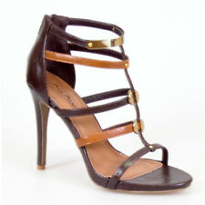 WOMAN SHOES STRAPPY STILETTO HEEL SANDAL BROWN