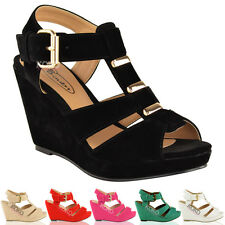 LADIES WOMENS SUMMER WEDGES LOW MID HEEL COMFORT GLADIATOR SANDALS SHOES SIZE