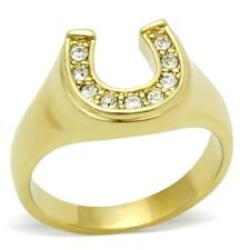 Gold Tone Good Luck Women's Horse Shoe Crystal Ring, SIZE 5 - 10