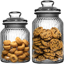 New Large Ornate Ribbed Glass Tea Coffee Sugar Candy Sweet Biscuit Storage Jars