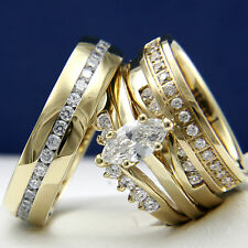 0.9ct CZ Solitaire Women's Engagement Man's Wedding Bridal Gold Plated Ring Sets