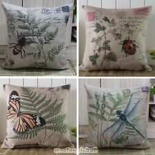 Retro Vintage Insect Plant Print Butterfly Linen Pillow Case Throw Cushion Cover