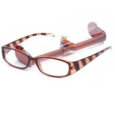 Eye-Zoom Brown & Toffee Stripes Color Striped Hipster Reading Glasses with Case