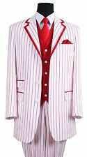 New Men's 3 piece Milano Moda Elegant Fashion Suit w/ Stripes White / Red Milano
