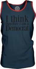 I Think Therefore I am a Democrat (Black) Mens Contrast Singlet Tank-Top T-Shirt