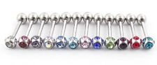 One (1) Multi Gem Stainless Steel Tongue Ring 14 Gauge 18 mm Ships from US